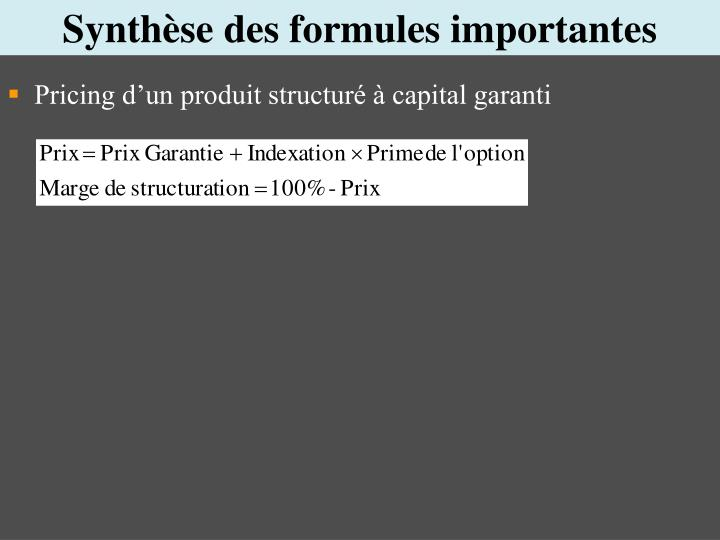 Synthèse des formules importantes
