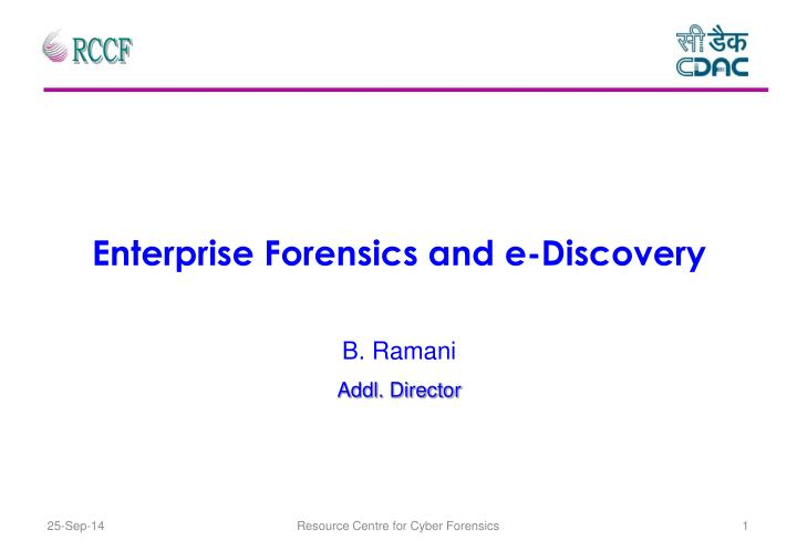 enterprise forensics and e discovery n.