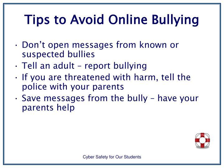 Tips to Avoid Online Bullying