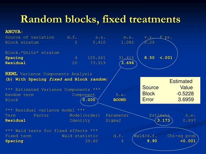 Random blocks, fixed treatments
