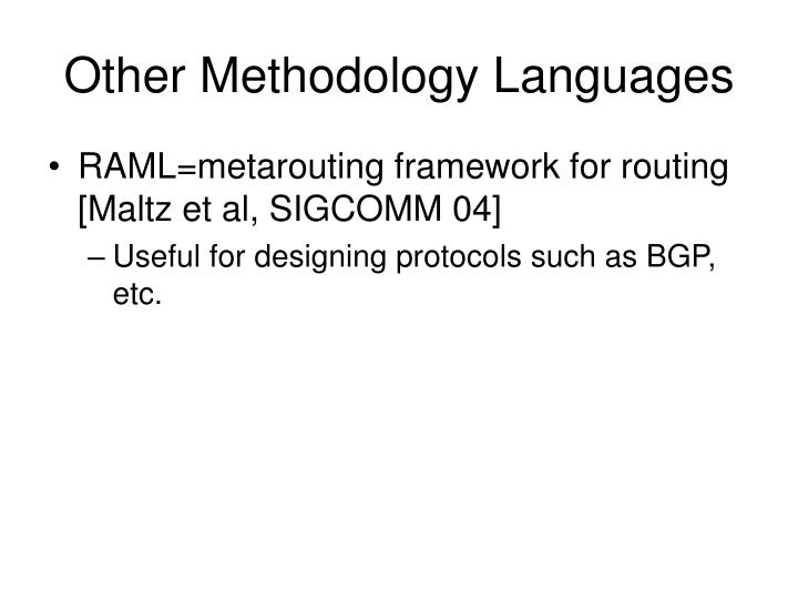Other Methodology Languages