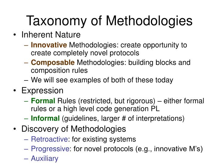 Taxonomy of Methodologies