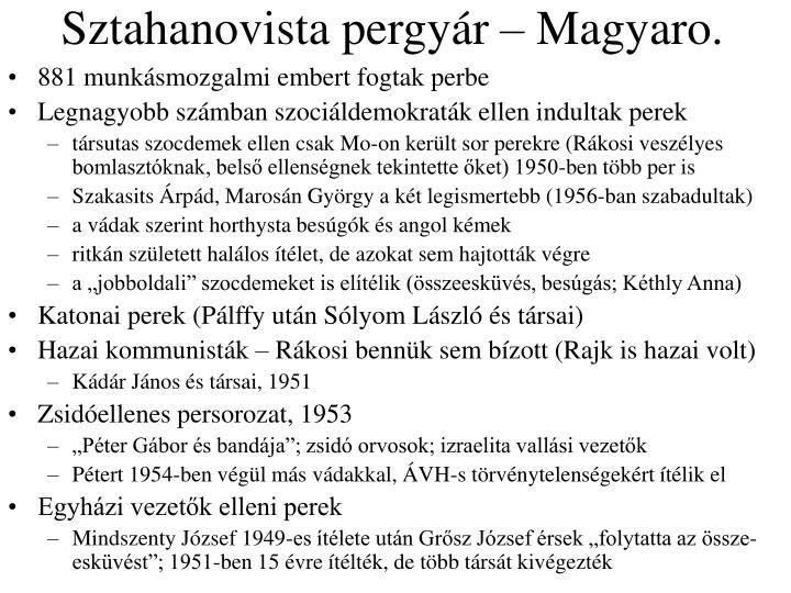 Sztahanovista pergyár – Magyaro.