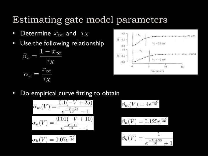 Estimating gate model parameters