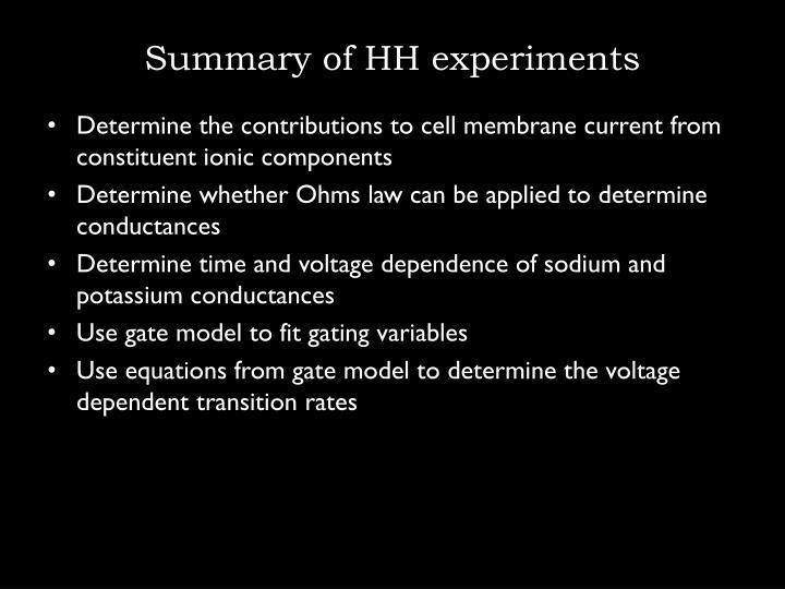 Summary of HH experiments