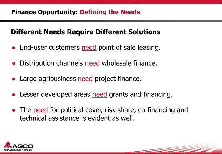 Finance opportunity defining the needs