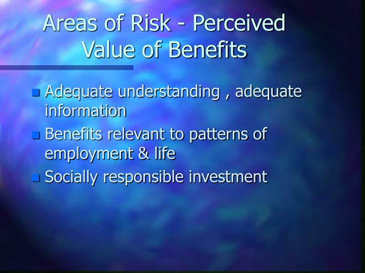 Areas of Risk - Perceived Value of Benefits