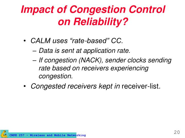 Impact of Congestion Control on Reliability?