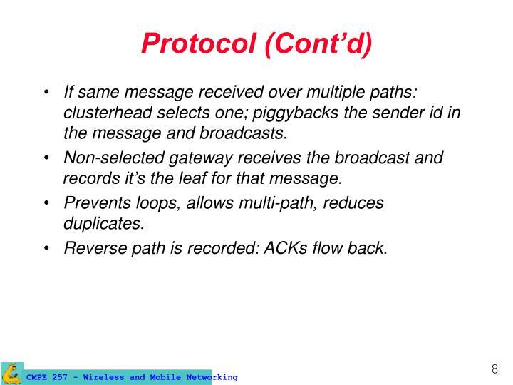 Protocol (Cont'd)