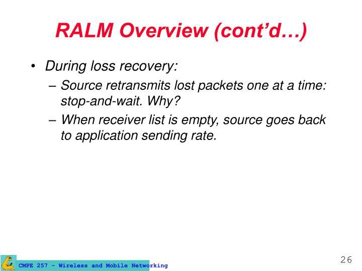 RALM Overview (cont'd…)