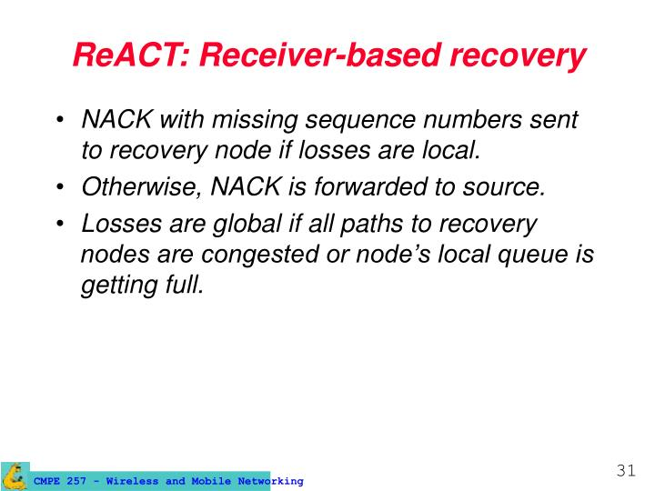 ReACT: Receiver-based recovery