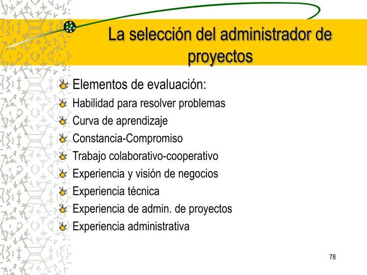 Elementos de evaluación: