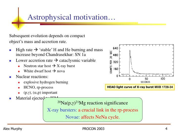Astrophysical motivation…