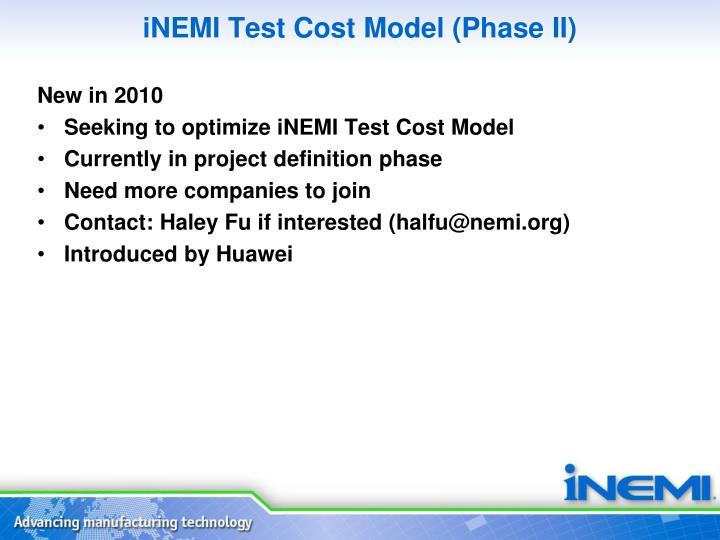 iNEMI Test Cost Model (Phase II)
