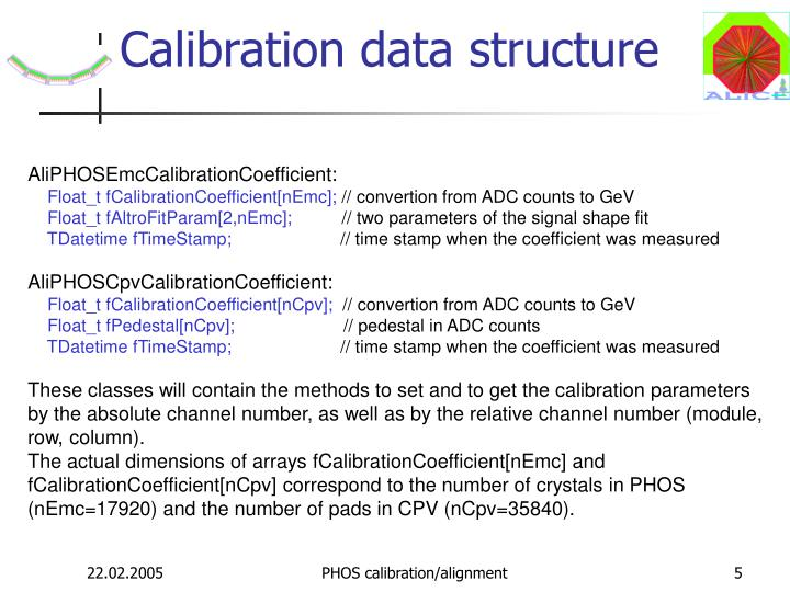 Calibration data structure