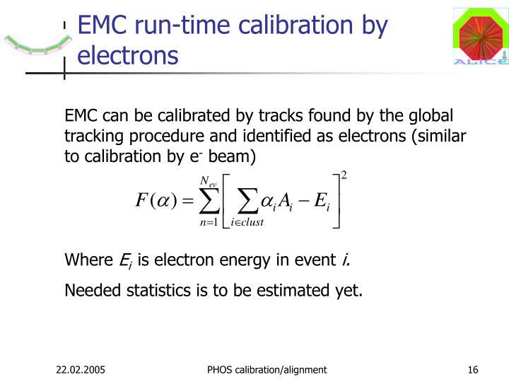 EMC run-time calibration by electrons