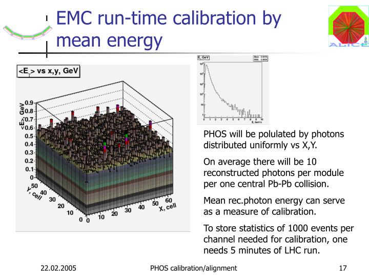 EMC run-time calibration by mean energy