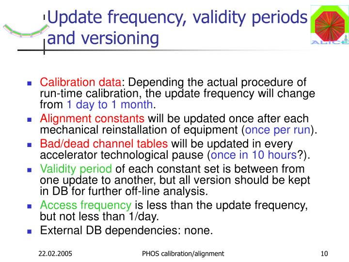 Update frequency, validity periods and versioning