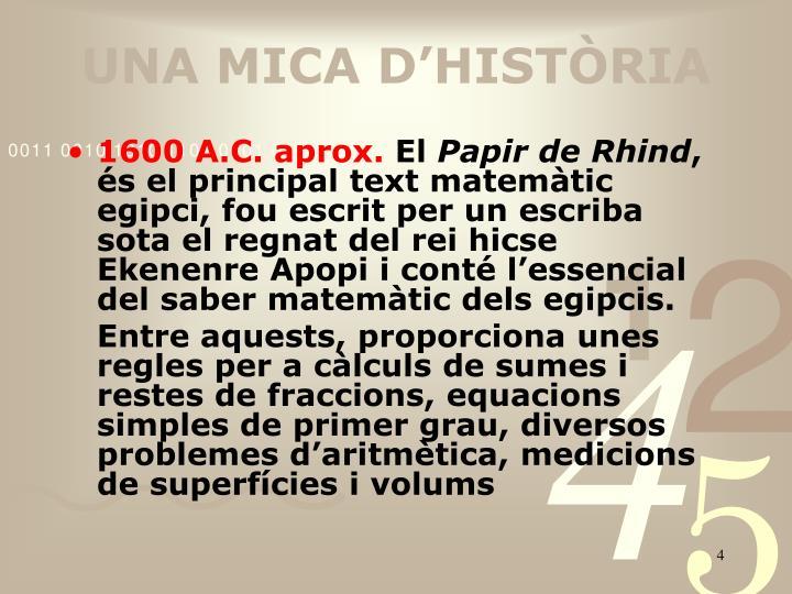 UNA MICA D'HISTÒRIA