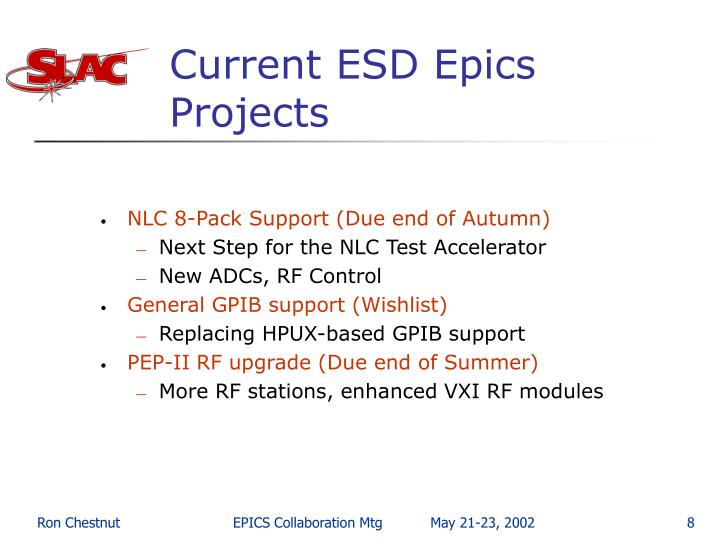 Current ESD Epics Projects