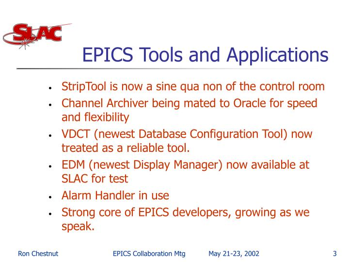 Epics tools and applications