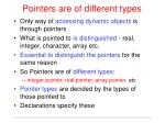 pointers are of different types