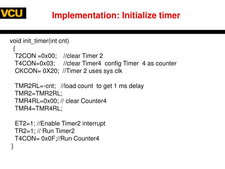 Implementation: Initialize timer