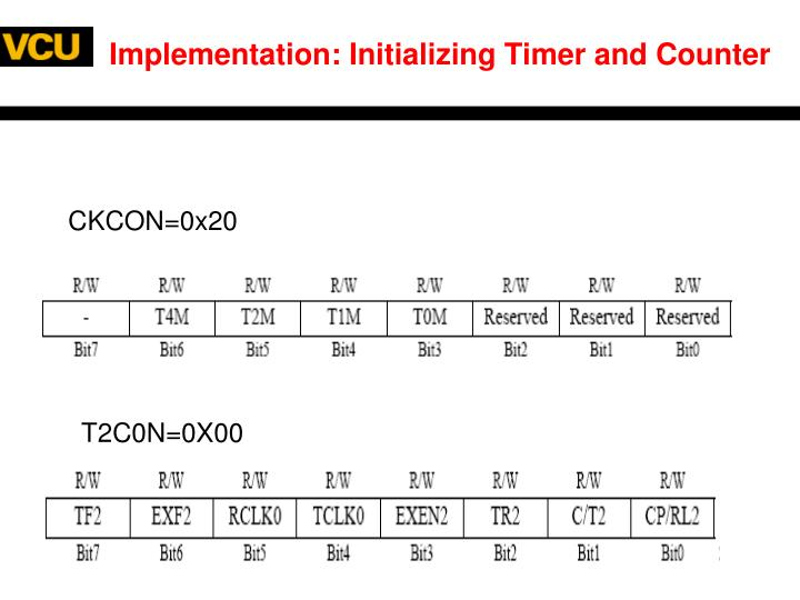 Implementation: Initializing Timer and Counter