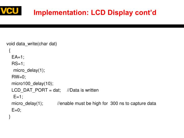 Implementation: LCD Display cont'd