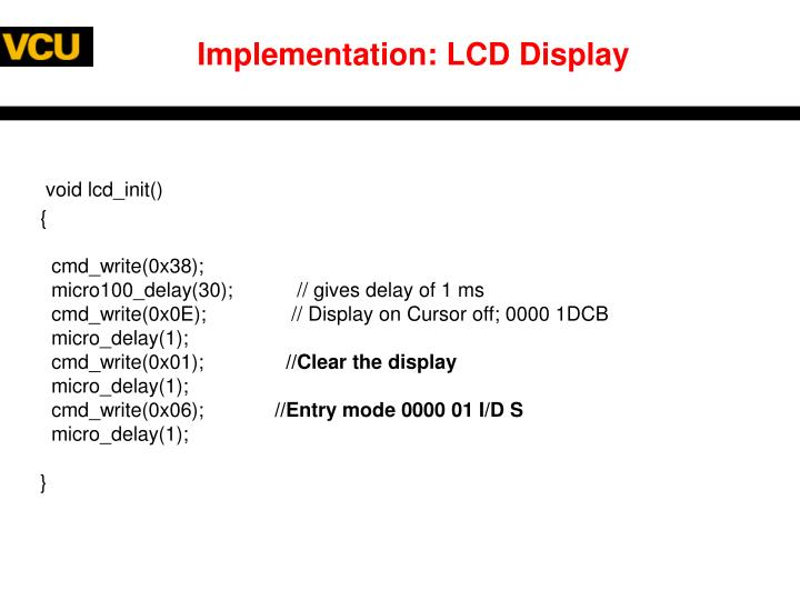 Implementation: LCD Display