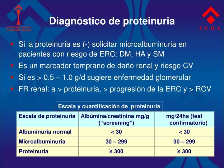 Diagnóstico de proteinuria