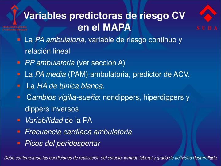 Variables predictoras de riesgo CV en el MAPA