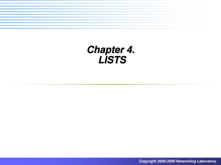 chapter 4 lists n.