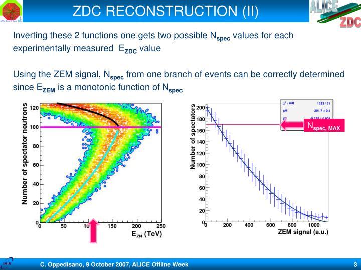 Zdc reconstruction ii