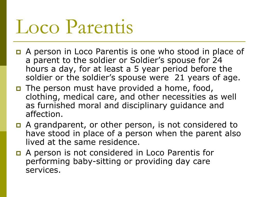 Relative in loco parentis