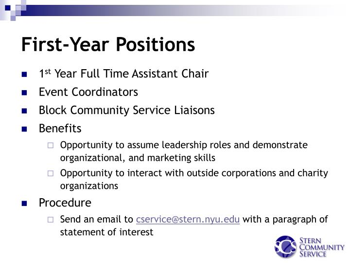 First-Year Positions