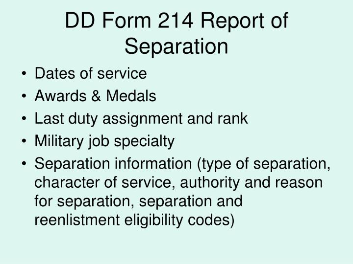 DD Form 214 Report of Separation
