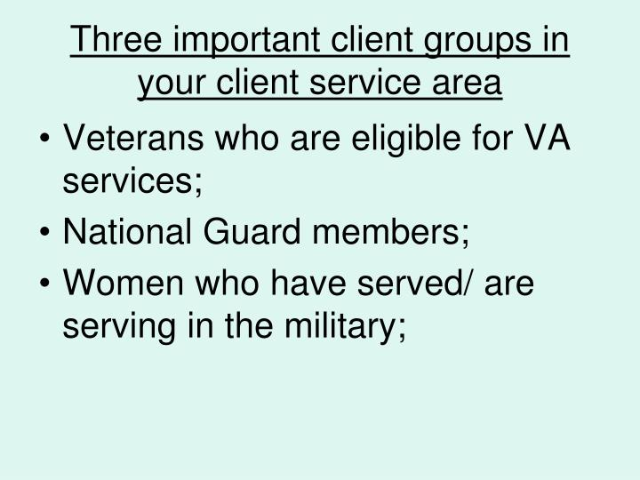Three important client groups in your client service area