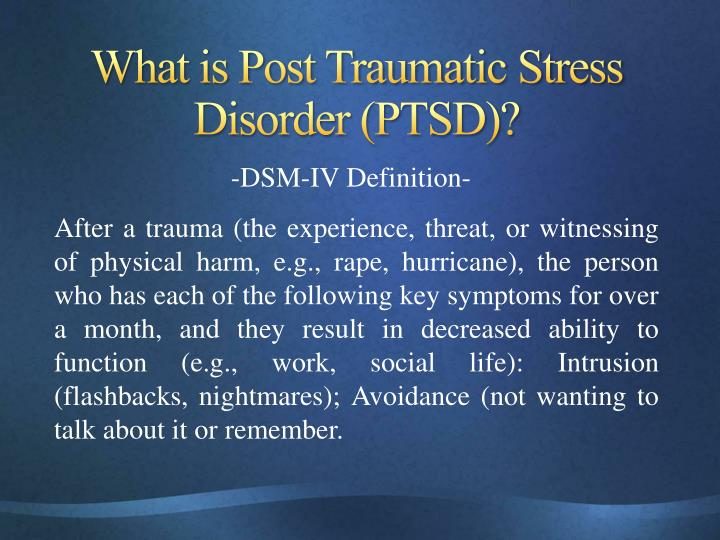 post traumatic stress disorder a mind threatening Acute stress reaction (also called acute stress disorder, psychological shock, mental shock, or simply shock) is a psychological condition arising in response to a terrifying or traumatic event, or witnessing a traumatic event that induces a strong emotional response within the individual.