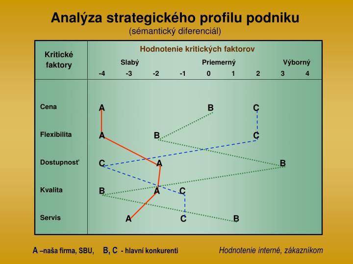 Analýza strategického profilu podniku
