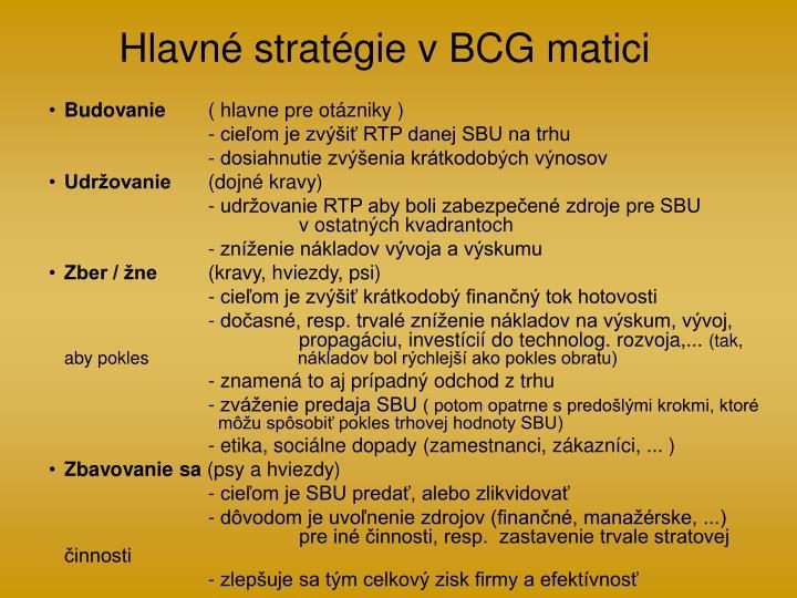 Hlavné stratégie v BCG matici