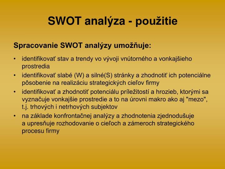 SWOT analýza - použitie