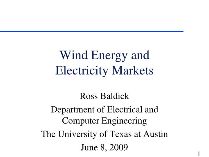 wind energy and electricity markets n.