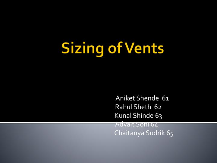 sizing of vents n.