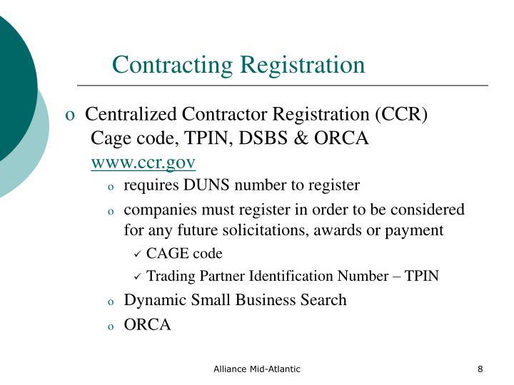 Contracting Registration