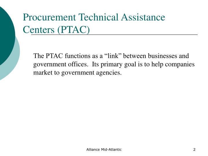 Procurement technical assistance centers ptac
