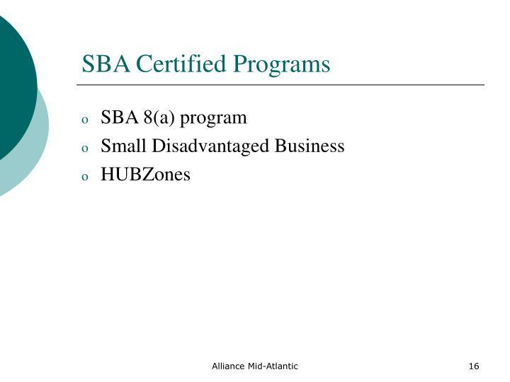 SBA Certified Programs