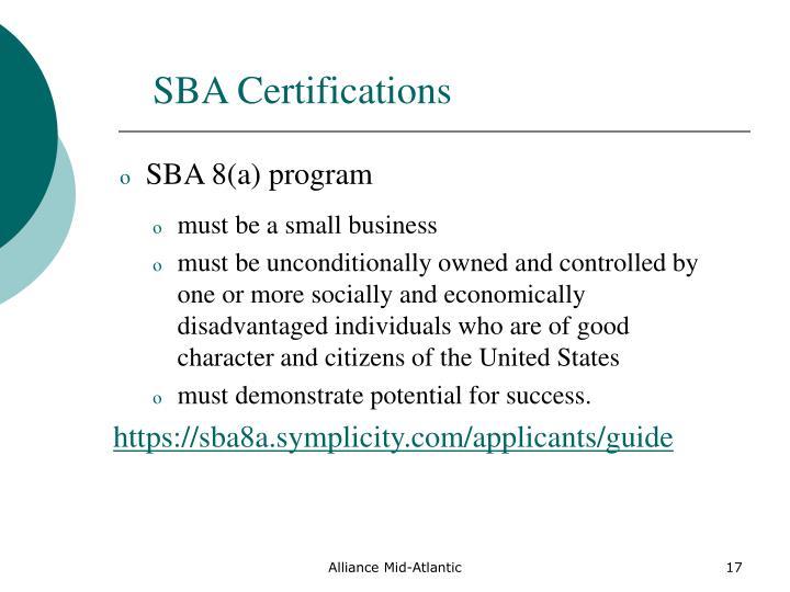 SBA Certifications
