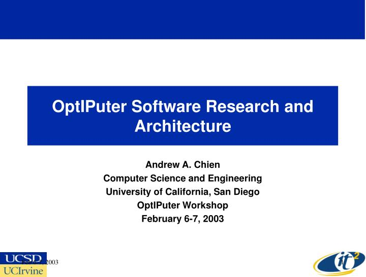 optiputer software research and architecture n.