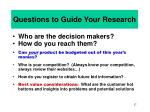 questions to guide your research